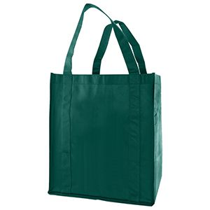 "Reusable Grocery Bags, 12"" x 8"" x 13"", Dark Green"