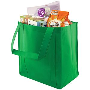 "Reusable Grocery Bags, 12"" x 8"" x 13"", Kelly Green"
