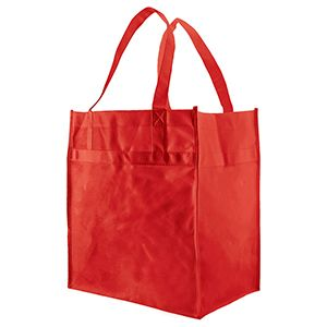 "Economy Reusable Grocery Bags, 12"" x 8"" x 13"", Red"