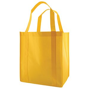 "Reusable Grocery Bags, 13"" x 10"" x 15"", Yellow"