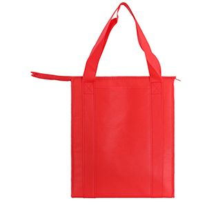 "Insulated Reusable Grocery Bags, 13"" x 10"" x 15"" x 10"", Red"