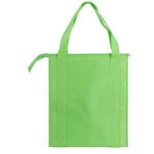 "Insulated Reusable Grocery Bags, 13"" x 10"" x 15"" x 10"", Lime"