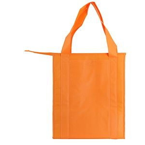 "Insulated Reusable Grocery Bags, 13"" x 10"" x 15"" x 10"", Orange"