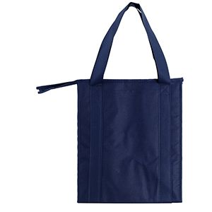 "Insulated Reusable Grocery Bags, 13"" x 10"" x 15"" x 10"", Navy Blue"
