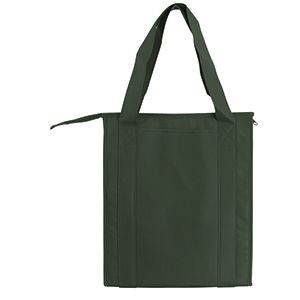 "Insulated Reusable Grocery Bags, 13"" x 10"" x 15"" x 10"", Dark Green"