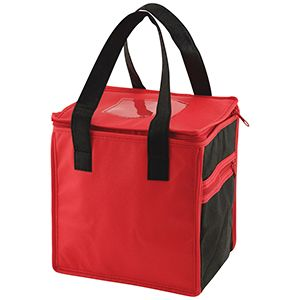 """Lunch Tote Bag, 8"""" x 6"""" x 8.5"""" x 6"""", Red/Black"""