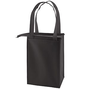 """Insulated Lunch Tote Bag, 8"""" x 7"""" x 12"""", Black"""