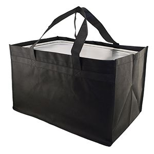 "Reusable Catering Tote Bag, 22"" x 14"" x 13"", Black"
