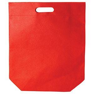 "Die cut Reusable shopping bags, 15"" x 18"" + 4"", Red"