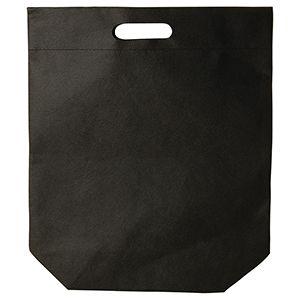 """Die cut Reusable shopping bags, 15"""" x 18"""" + 4"""", Black"""