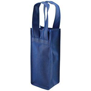 """Single Bottle Wine Bags, 4.5"""" x 3.5"""" x 11"""", Navy Blue"""