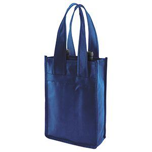 """2 Bottle Wine Bags, 7"""" x 3.5"""" x 11"""" x 3.5"""", Navy Blue"""