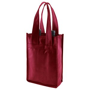 "2 Bottle Wine Bags, 7"" x 3.5"" x 11"" x 3.5"", Burgundy"