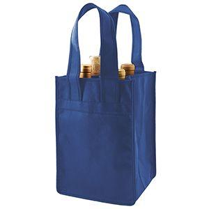 """4 Bottle Wine Bags, 7"""" x 7"""" x 11"""" x 7"""", Navy Blue"""