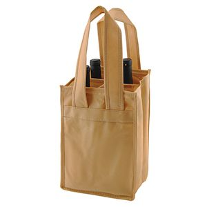 """4 Bottle Wine Bags, 7"""" x 7"""" x 11"""" x 7"""", Natural"""