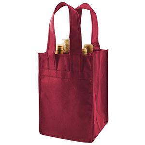 "4 Bottle Wine Bags, 7"" x 7"" x 11"" x 7"", Burgundy"