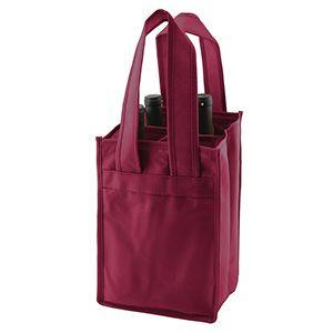 """4 Bottle Wine Bags, 7"""" x 7"""" x 11"""" x 7"""", Merlot"""