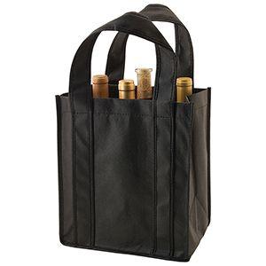 """6 Bottle Wine Bags, 10"""" x 7"""" x 11"""" x 7"""", Black"""