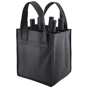 "6 Bottle Versatile Wine Bags, 10"" x 7"" x 11"" x 7"", Black"