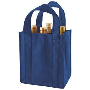"""6 Bottle Wine Bags, 10"""" x 7"""" x 11"""" x 7"""", Navy Blue"""
