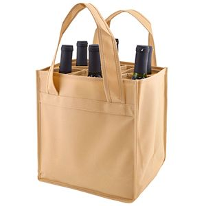 """6 Bottle Versatile Wine Bags, 10"""" x 7"""" x 11"""" x 7"""", Natural"""