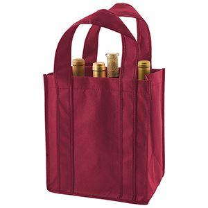 "6 Bottle Wine Bags, 10"" x 7"" x 11"" x 7"", Burgundy"