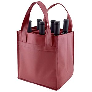 "6 Bottle Versatile Wine Bags, 10"" x 7"" x 11"" x 7"", Burgundy"
