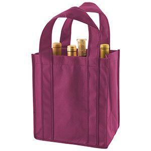 """6 Bottle Wine Bags, 10"""" x 7"""" x 11"""" x 7"""", Merlot"""