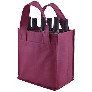 """6 Bottle Versatile Wine Bags, 10"""" x 7"""" x 11"""" x 7"""", Merlot"""