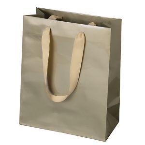 """Grosgrain Ribbon Handle Euro tote shopping bags, 8""""W x 4""""D x 10""""H (cub)"""