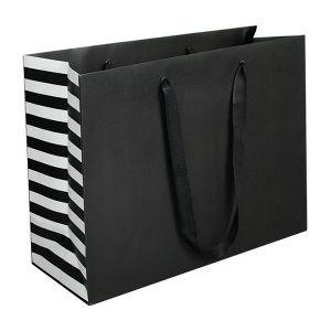 "Stripe, Twill Handle Euro tote shopping bags, 16""W x 6""D x 12""H"