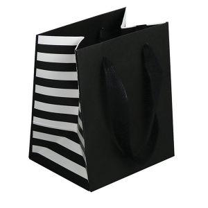 "Stripe, Twill Handle Euro tote shopping bags, 5""W x 4""D x 6""H"