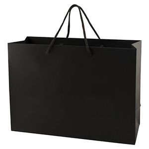 "Black Tote Shopper Bags, Non Laminated, 16"" x 6"" x 12"" x 6"""