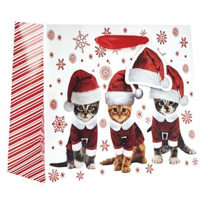 """Small Tote Bag, Kitty Christmas Collection, 7.5"""" x 6"""" x 3"""""""