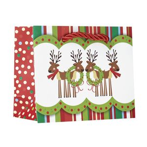 """Small Tote Bag, Cute Reindeer Collection, 5"""" x 4"""" x 2"""""""