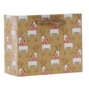 "Small Tote Bag, Dashing Deer Collection, 5"" x 4"" x 2"""