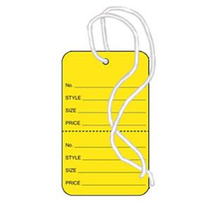 """1 3/4"""" Yellow, Strung Apparel Colored Tags"""