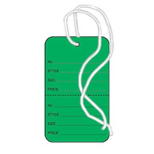 """1 1/4"""" Dark Green, Strung Apparel Colored Tags"""