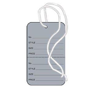 """1 1/4"""" Gray, Strung Apparel Colored Tags"""