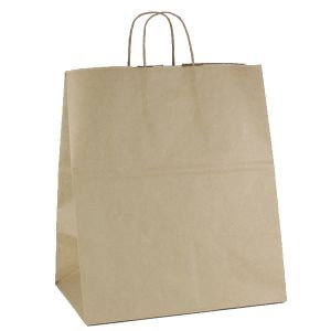 """Recycled Natural Kraft Paper Shopping Bags, 14""""L x 10""""W x 15""""H"""