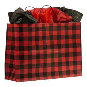 "Large Shopping Bag, Red Buffalo Plaid, 16""W x 6""D x 13""H (vogue)"