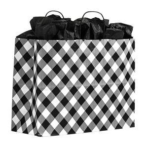 "Large Shopping Bag, White Buffalo Plaid, 13"" x 6"" x 16"" (senior)"
