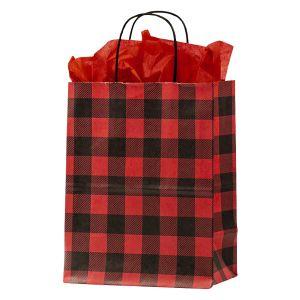 """Medium Shopping Bag, Red Buffalo Plaid, 8"""" x 4.75"""" x 10.25"""" (cub)"""