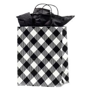 """Medium Shopping Bag, White Buffalo Plaid, 8"""" x 4.75"""" x 10.25"""" (cub)"""