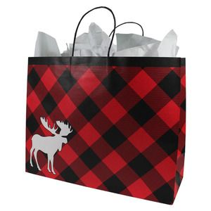 """Large Shopping Bag, Chalet Moose Collection, 16"""" x 6"""" x 13"""""""
