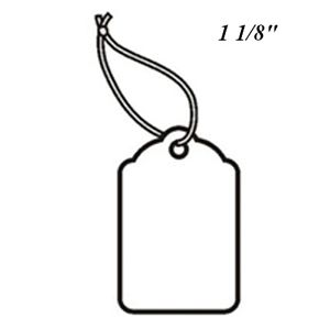 """1 1/8"""", Strung Blank White Scallop Top Tags"""