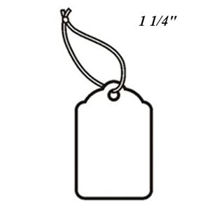 """1 1/4"""", Strung Blank White Scallop Top Tags"""