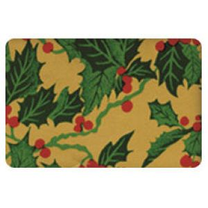 Holiday Gift Enclosure Card, Holly on Gold