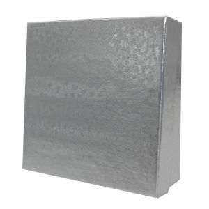 "Silver Foil Jewelry Boxes, 3.5"" x 3.5"" x 1"""