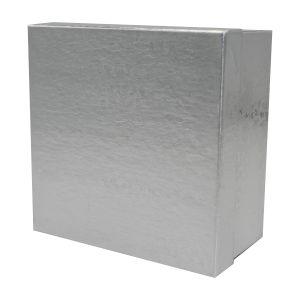 "Silver Foil Jewelry Boxes, 3"" x 3"" x 2"""